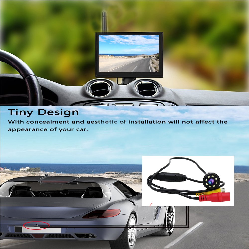 Camecho Wireless Car Backup Camera System 5 Inch New Version Vehicle Wireless Monitor 8 LED Rear Camera 170 Degree Wide View Waterproof