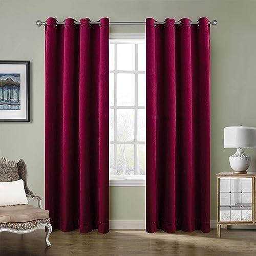 ChadMade Blackout Lined Premium Velvet Curtain Burgundy Red 100Wx108L Inch 1 Panel , Eyelet Grommet for Livingroom Bedroom Theater Studio, Birkin Collection