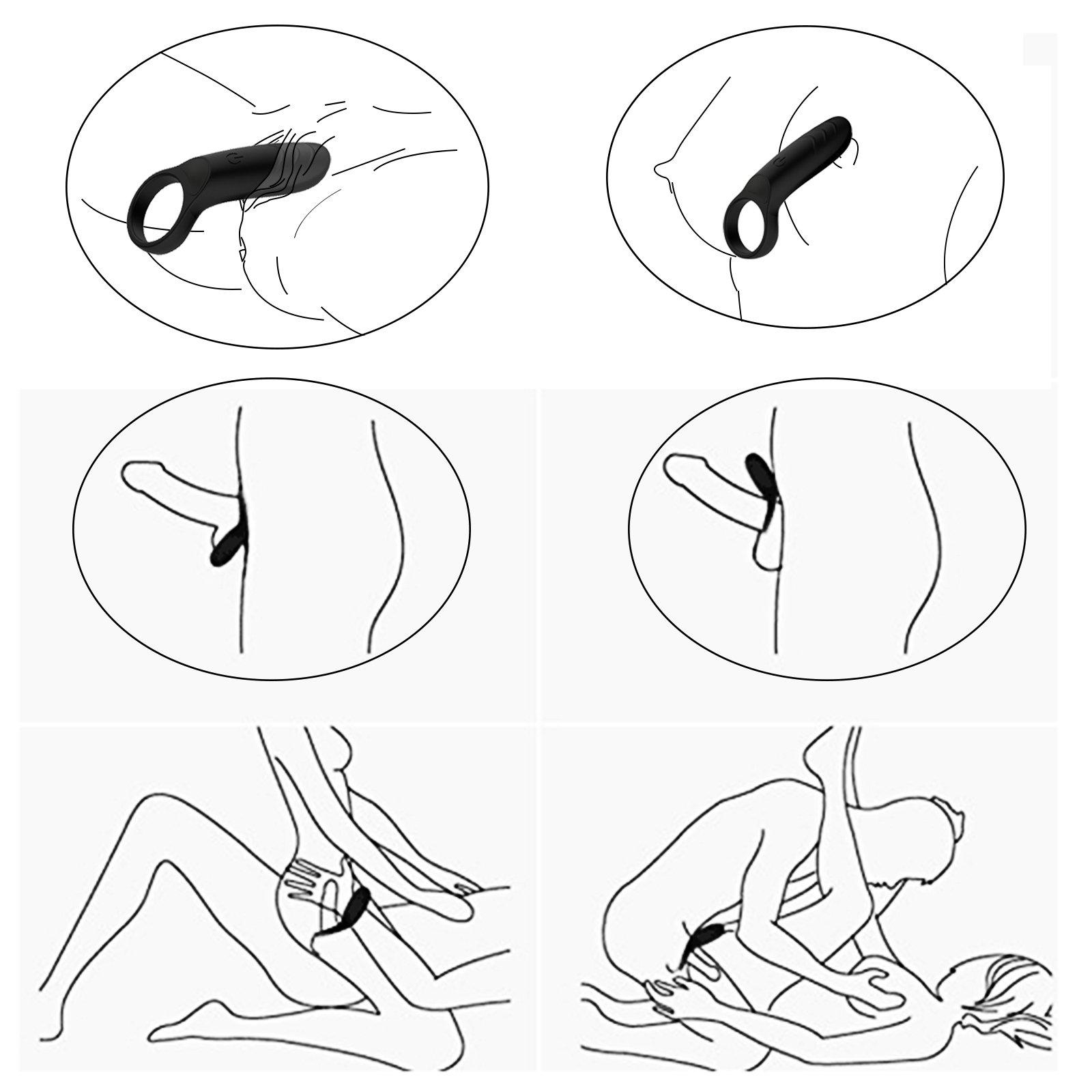 Cockring Vibrator Vibrierend mit Klitorisstimulator Silikon Penisring 10-Vibration Sexspielzeug für Männer, Ø 33 mm (Schwarz)