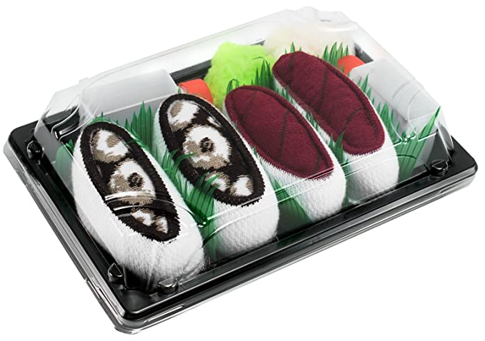 Sushi Socks Box 2 pares de CALCETINES: Nigiri Atún Pulpo - REGALO DIVERTIDO, Algodón