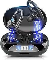 Bluetoothイヤホン ワイヤレスイヤホン 【2021年度版 】 Bluetooth5.0スポーツ仕様 耳掛け式Hi-Fi 低遅延 LED残量表示 CVC8.0ノイズキャンセリングAAC対応自動ペアリング 瞬間接続...