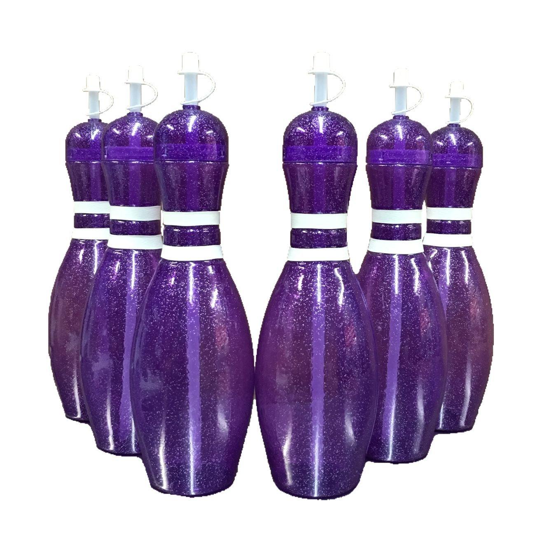 Large Bowling Pin Water Bottles Purple - 6 Pack