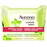 Aveeno Face Wipes, Positively Radiant Makeup Wipes with Natural Soy Extract, 50 Count