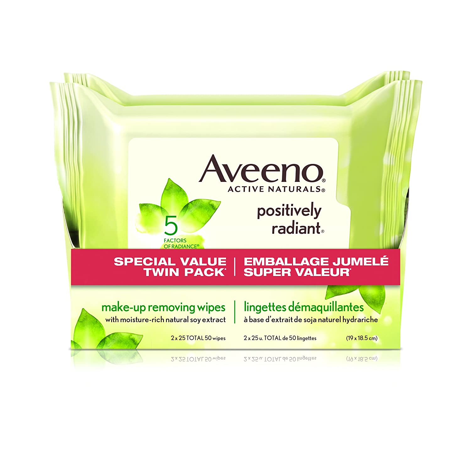 Aveeno Face Wipes, Positively Radiant Makeup Wipes with Natural Soy Extract, 50 Count Johnson & Johnson
