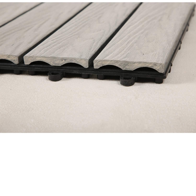 Top-Multi WPC Holz Fliese profiliert 30x30cm GRAU 2 m/²