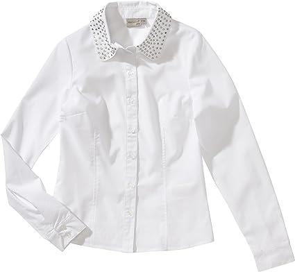 blue seven - Blusa con Cuello Mao de Manga Larga para niña, Talla 10 años (140 cm), Color Blanco 001: Amazon.es: Ropa y accesorios
