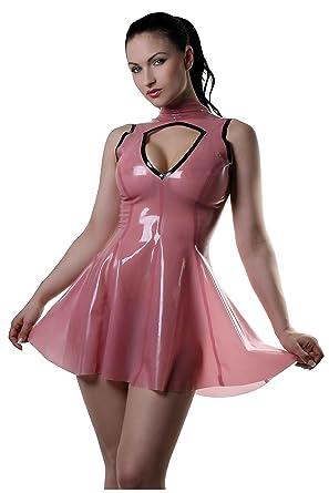 Böses Mädchen Latex Gummikleid. Semi-transparente Rosa Mit Schwarze ...