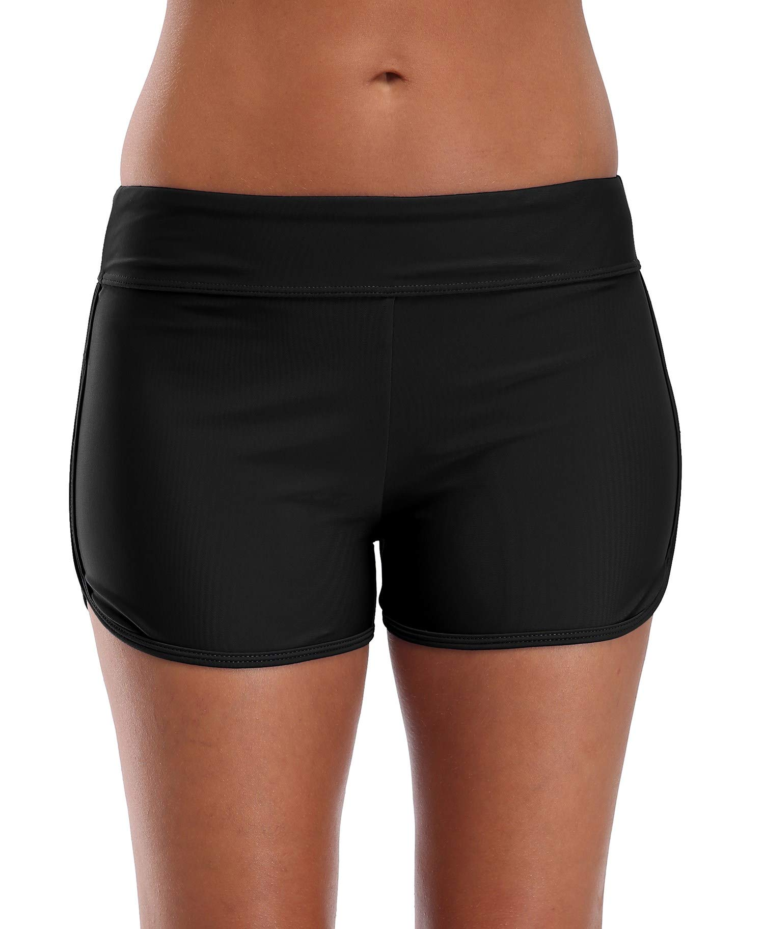 Anwell Womens Boyleg Swim Board Short Wide Waistband Swimwear Bottoms Black XXL by Anwell