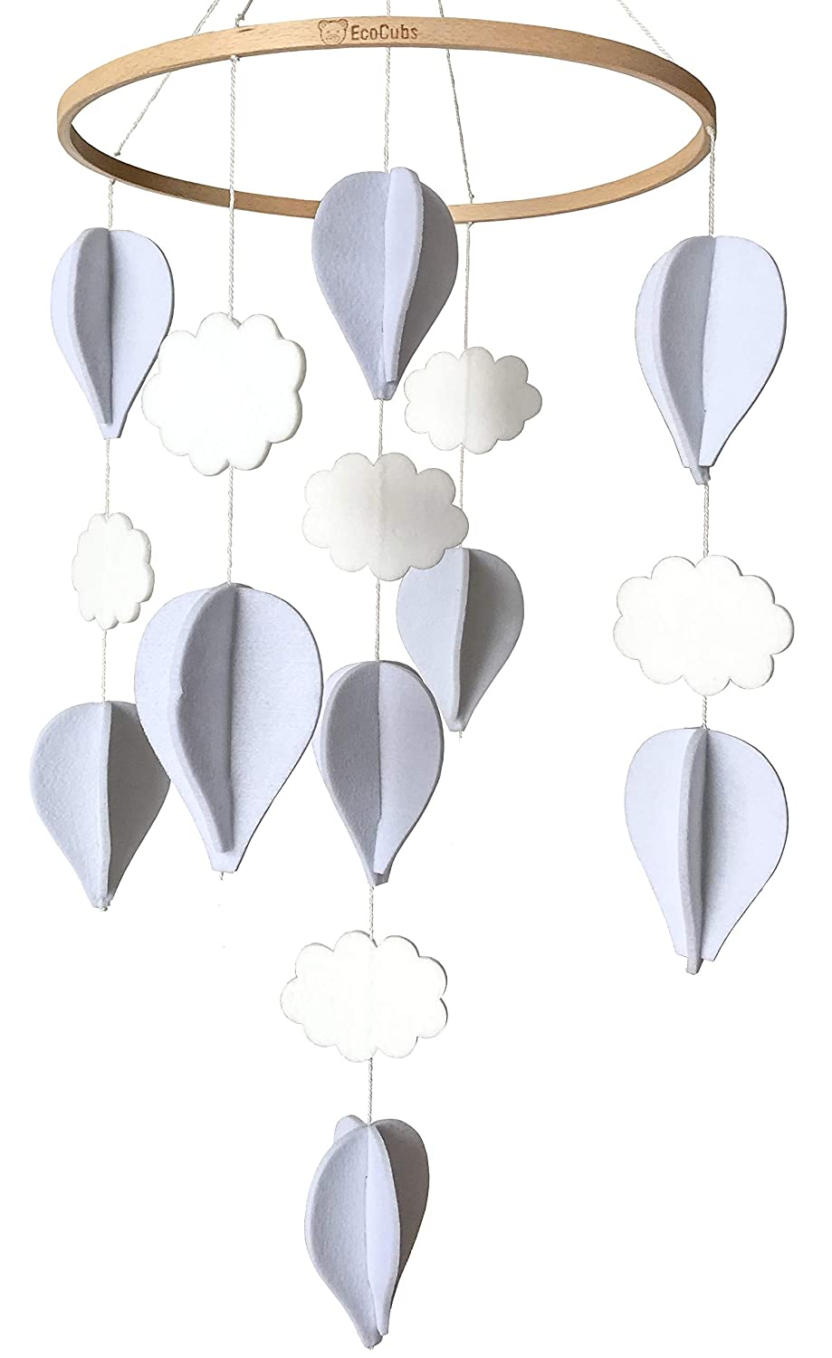 EcoCubs Baby Crib Mobile. Handmade. White and Pale Grey. Hot Air Balloons and Clouds. Eco Felt and Organic Beech Wood. Perfect Gender Neutral Nursery Decor. Simple and Modern