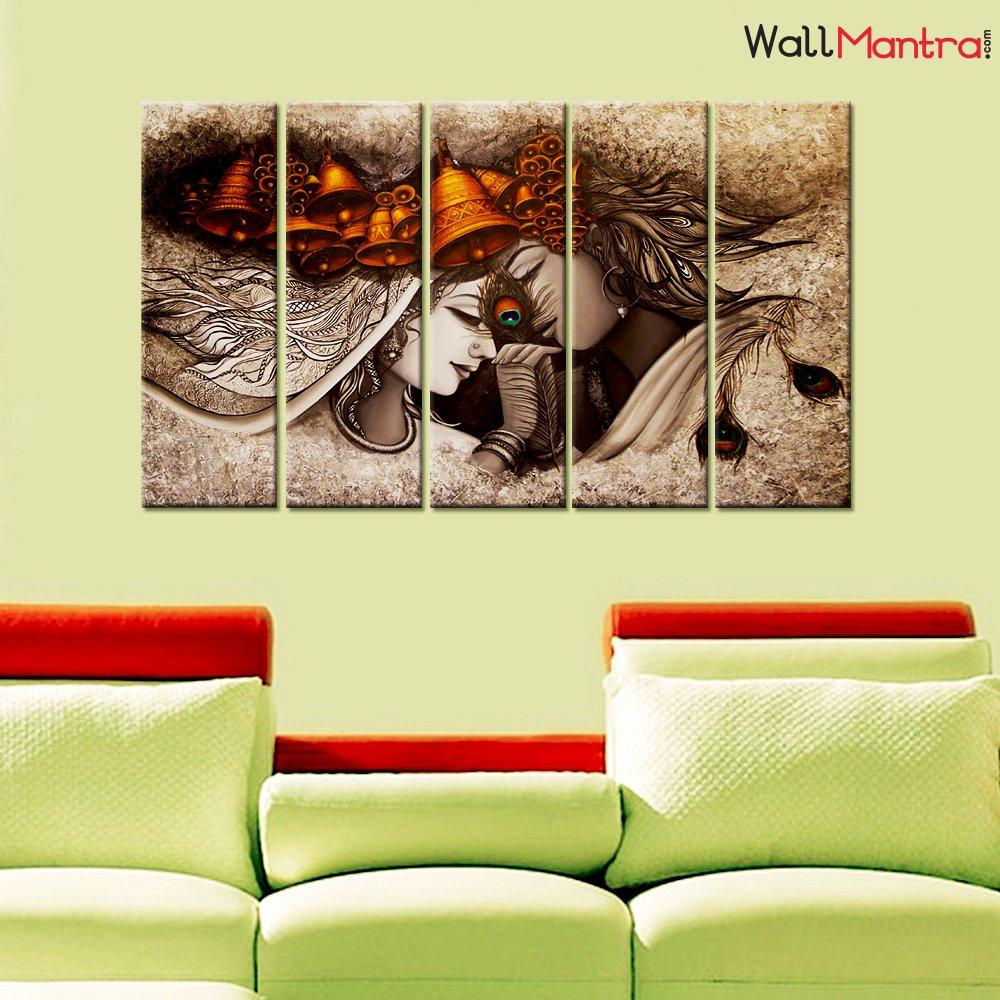 Amazon.com: WallMantra Radha Krishna Designer Romantic Wall Painting ...