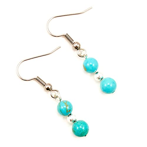 Turquoise Gemstone & Silver Sparkle Bead Hypoallergenic Drop Earrings