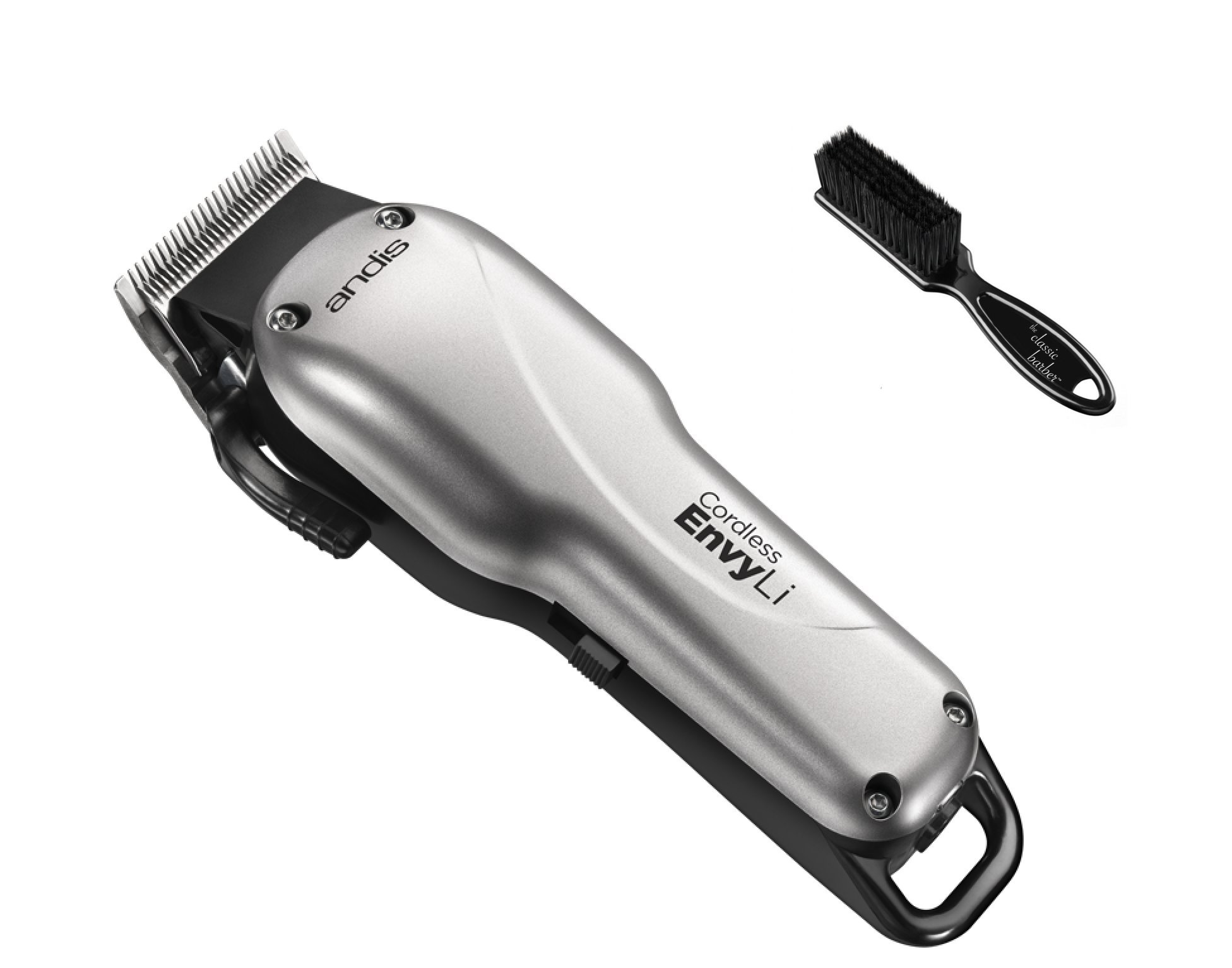 Andis Cordless Envy Li Adjustable Blade Clipper with The Classic Barber Blade Brush Bundle