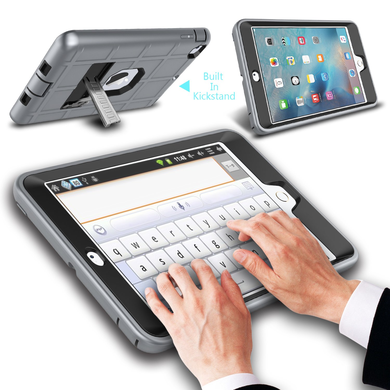 iPad mini Retina Case Heavy Duty Three Layer Armor Defender Protective Case with Kickstand for iPad Mini 1//2//3 iPad Mini 2 Case iPad Mini 3 Case Red//Black Innens for iPad Mini Case