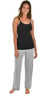 9e4fd52c7c Int Intimate Womens Pajama Set Black Cami Shelf Bra Gray Print PJ Pants  Pockets