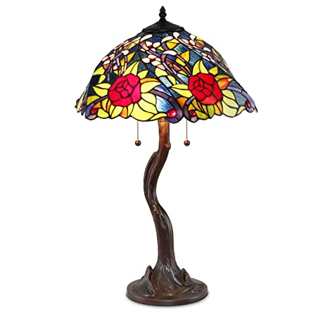 Superb Tiffany Style Rose Tree Table Lamp
