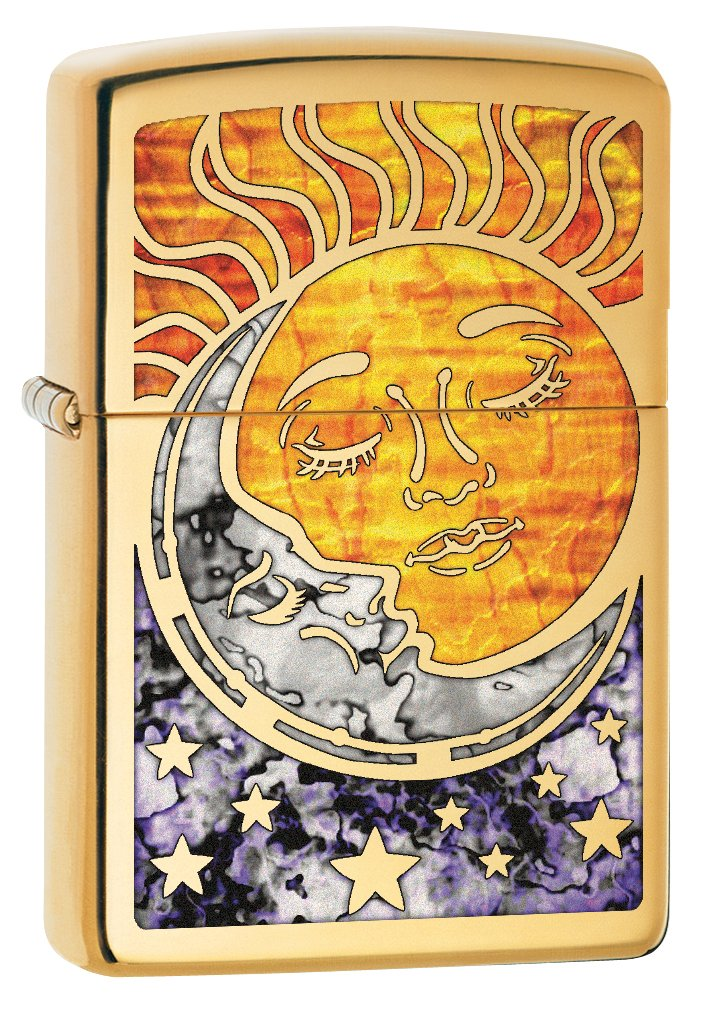 Zippo Custom Lighter: Fusion Sun and Moon - High Polish Brass 78780
