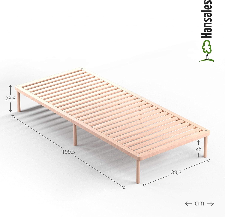 Cama somier Individual de Madera 90x200 cm y Cama 2 plazas Extra 180x200 cm - Madera Maciza Sin Pegamento