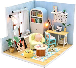 Kisoy DIY Dollhouse Kit, 1:24 Scale Exquisite Miniature with Furniture, Dust Proof Cover and Music Movement, for Your Perfect Craft (Ding Dong Nest)