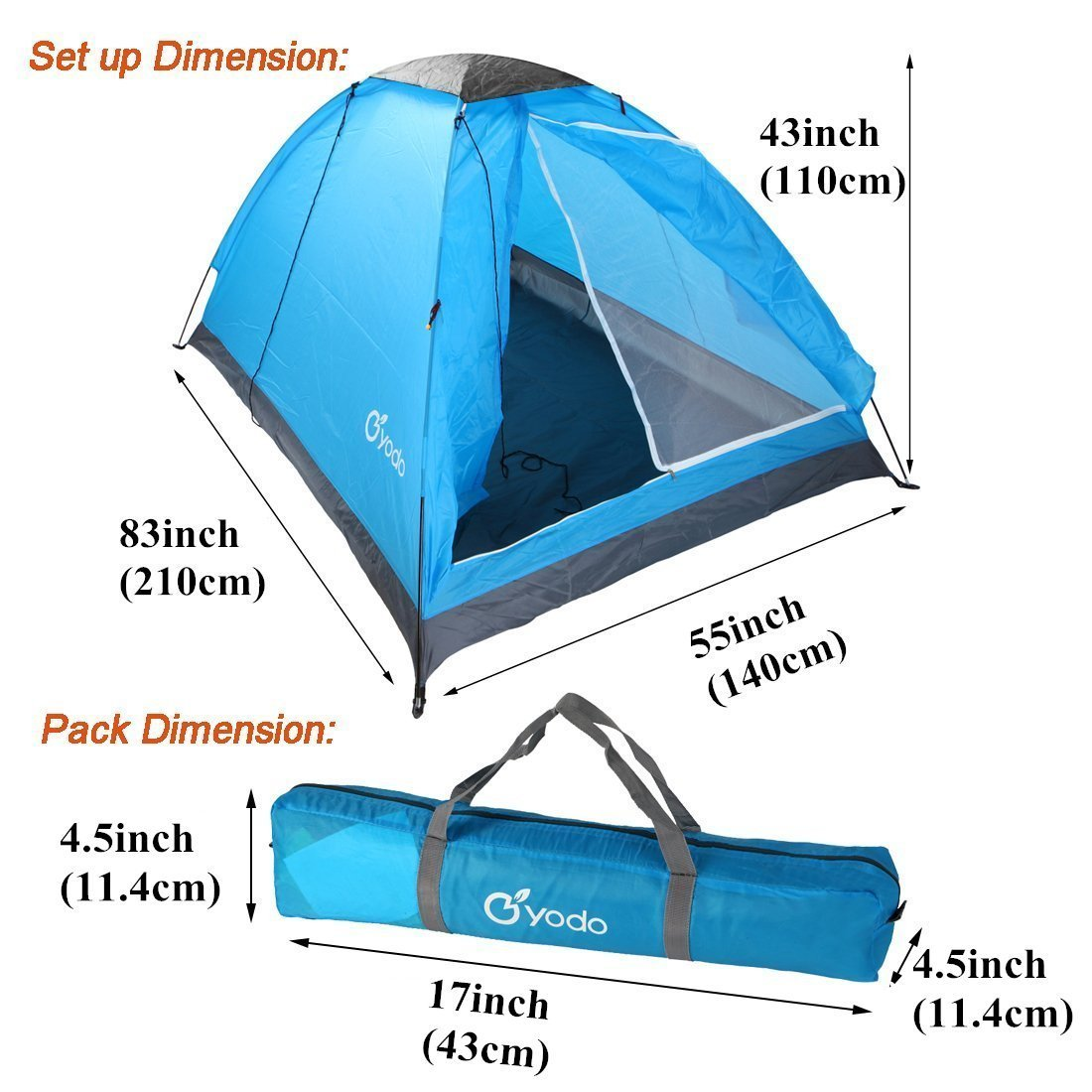 yodo Lightweight 2 Person Camping Backpacking Tent with Carry Bag Multi