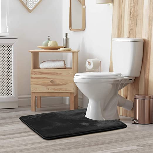 Memory Foam 2 Piece Bathroom Rug Absorbent Bath Mat Set and Toilet Contour Rug