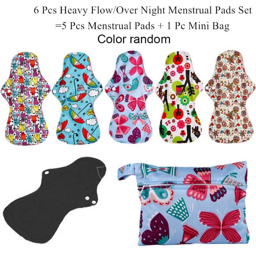 Waschbare wiederverwendbare Hygiene Pad 5 Stü ck Menstruation Pads + 1 Stü ck Tasche - zufä llig Erduo
