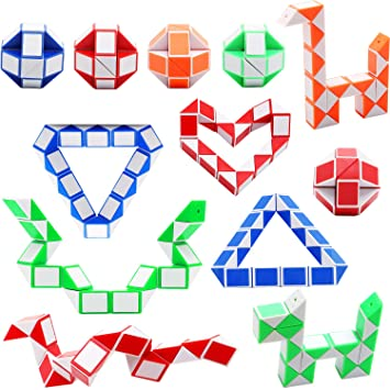 Sunshane 12 Pack 24 Blocks Magic Snake Cube Mini Snake Speed Cubes Twist Puzzle Toys for Kids Party Bag Fillers Random Color Party Favours