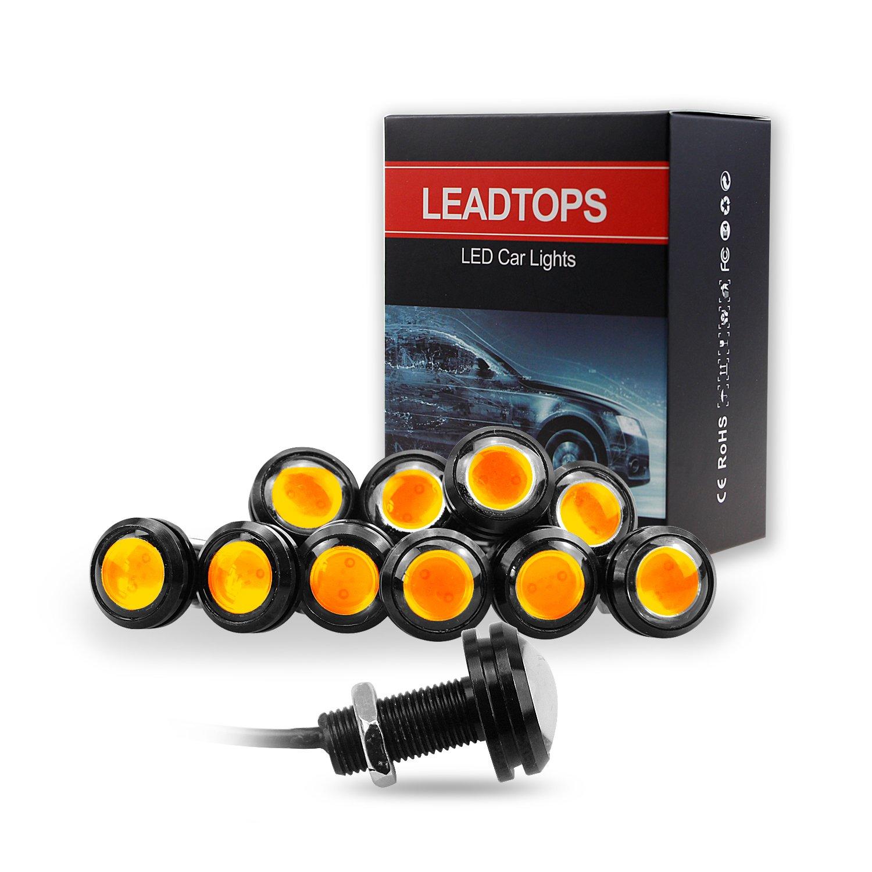 LEADTOPS 10Pcs 18mm 12V Eagle Eye LED Car Fog DRL Daytime Running Light Backup Reverse Tail (Yellow, Black Case) …
