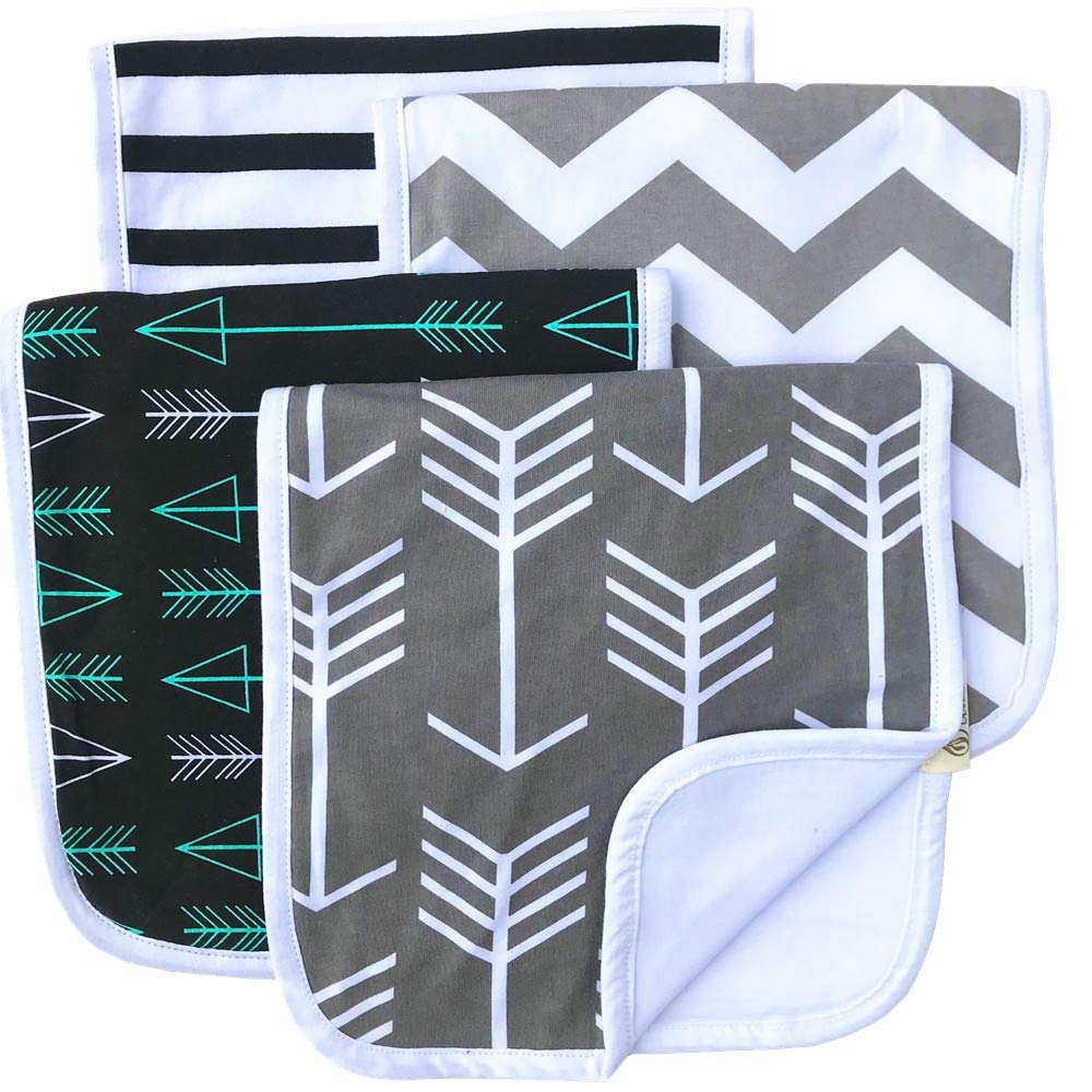 "Burp Cloths 20"" by 10"" 2 Layers Cotton Plus 1 Layer Absorbent fleece Grey Wave Black Stripes Arrows 4 Pack"