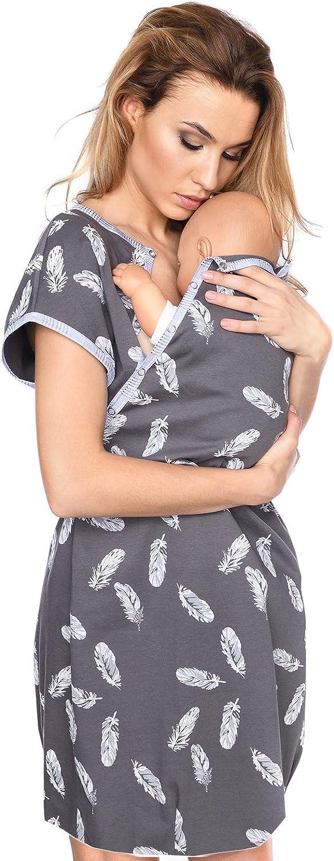 MijaCulture 3 en1 Camisón para el Parto Hospital Camisón de Maternidad & alimentación amamantamiento 4123