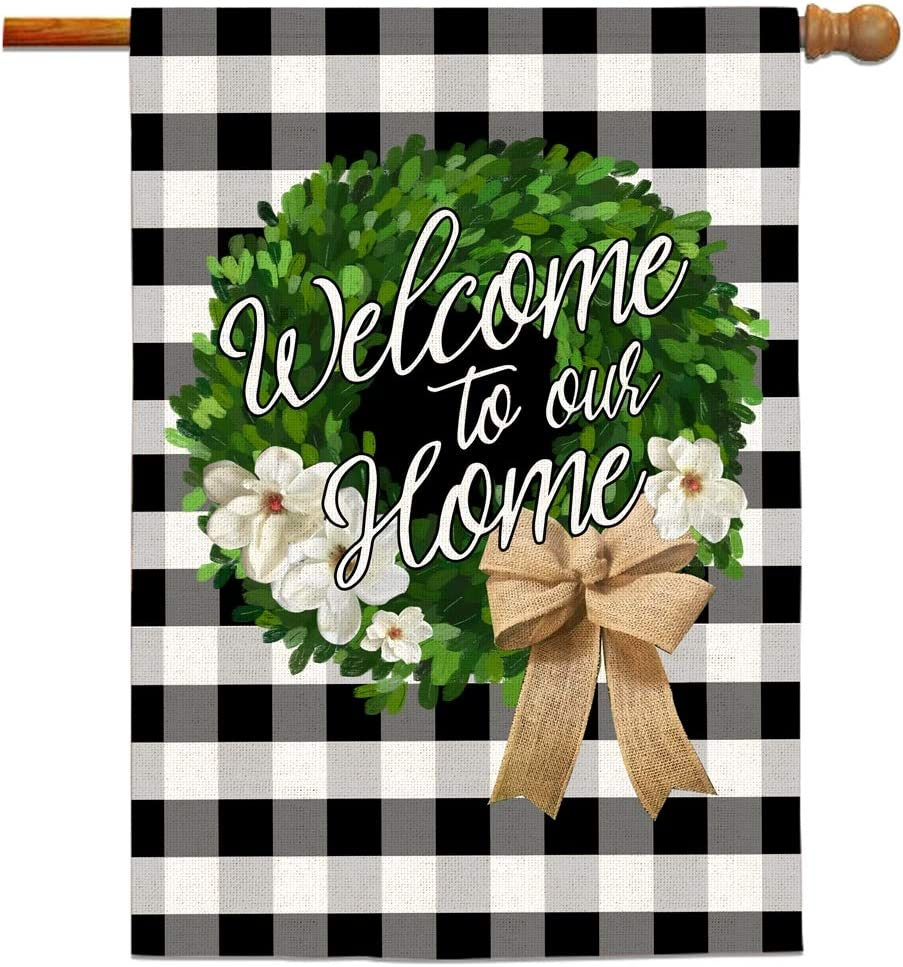 Bonsai Tree Welcome to Our Home Flags 28x40 Double Sided, Boxwood Christmas Wreath Seasonal Burlap Garden Flags, Black and White Buffalo Check Welcome Home Yard Signs Farmhouse Outdoor Decorations