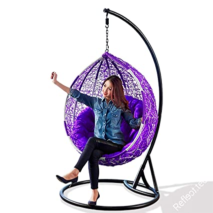 Re Onn Hanging Swing Chair With Stand Cushion For Garden Patio Balcony Outdoor Indoor Standard Purple Amazon In Home Kitchen