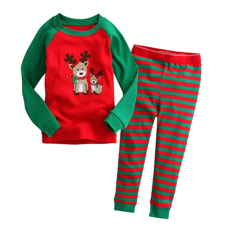 Little Boys Girls Kids Toddler Reindeer Christmas Pjs Sleepwear Cotton Pajamas Sets Bling Stars PS-01-9310-05