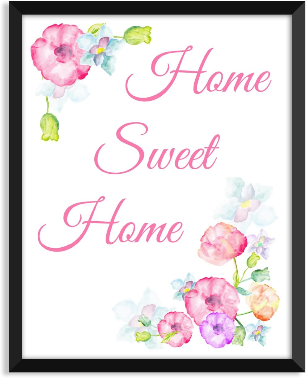 Home Sweet Home - Floral, Inspirational Quote, Minimalist Poster, Home Decor, College Dorm Room Decorations, Wall Art