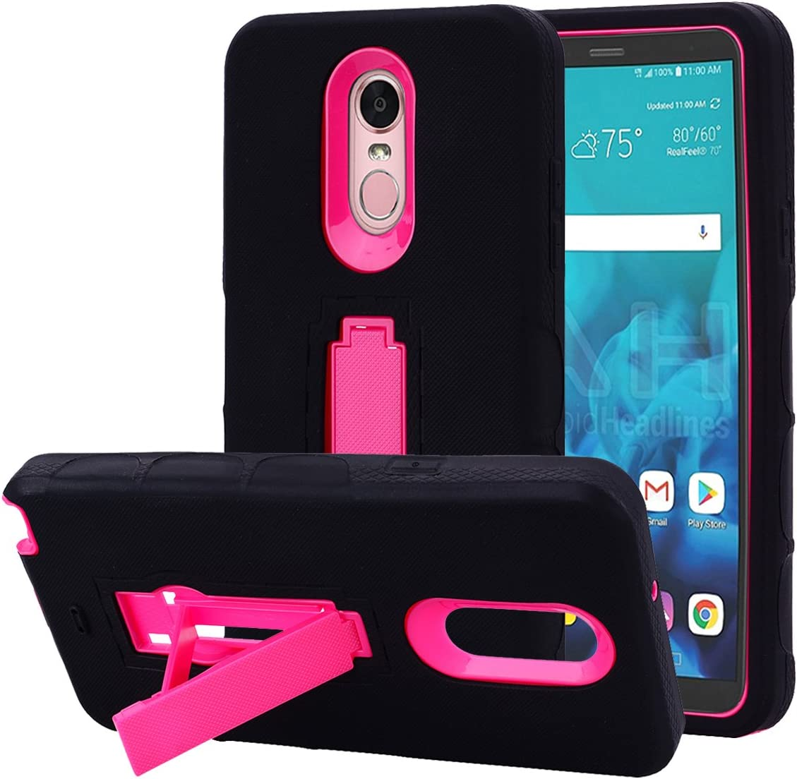 LG Stylo 4 Case, Binguowang Hybrid Heavy Duty Shockproof 3 in 1 design[Hard Plastic+Soft Silicone] Armor Defender Full-body Protective Case Cover with Kickstand for LG Stylo 4 2018. (Black/Rose)