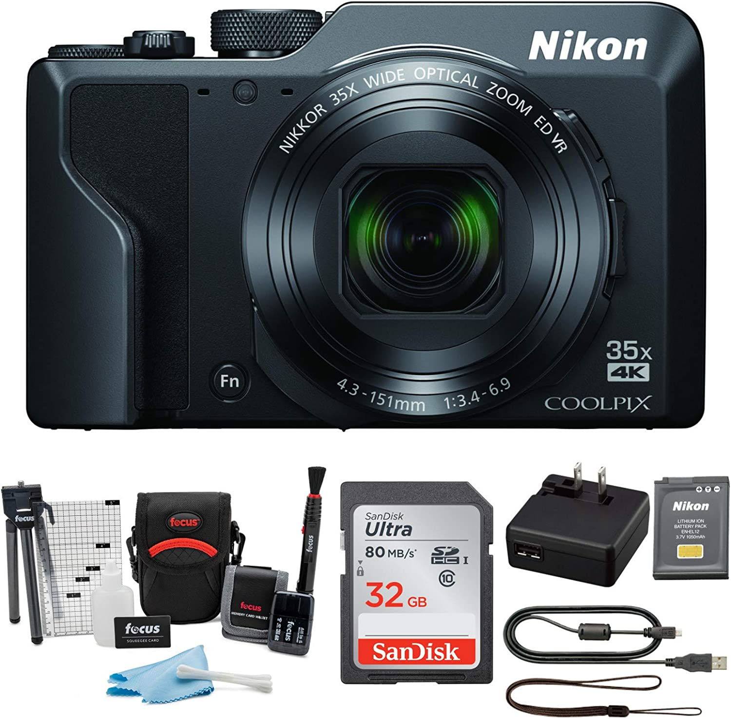Nikon COOLPIX A1000 Compact Digital Camera 4K Video with 32GB Card and Accessory Bundle (3 Items)