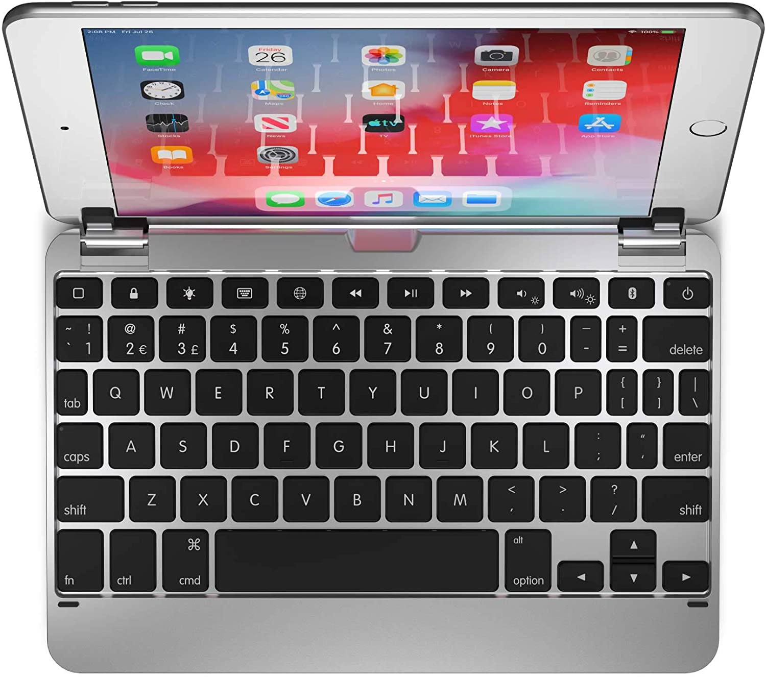 Brydge 7.9 Keyboard Compatible with iPad Mini 4th and 5th Generation   Aluminum   Wireless   Rotating Hinges   180 Degree Viewing (Silver)