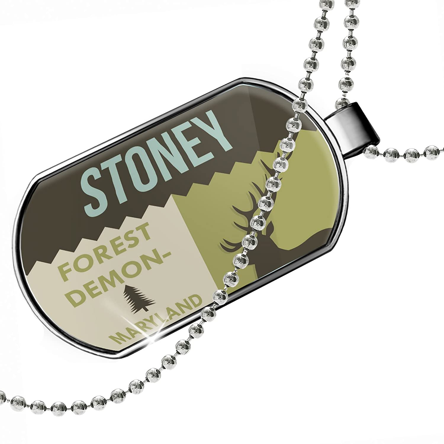 NEONBLOND Personalized Name Engraved National US Forest Stoney Forest Demonstration Area Dogtag Necklace