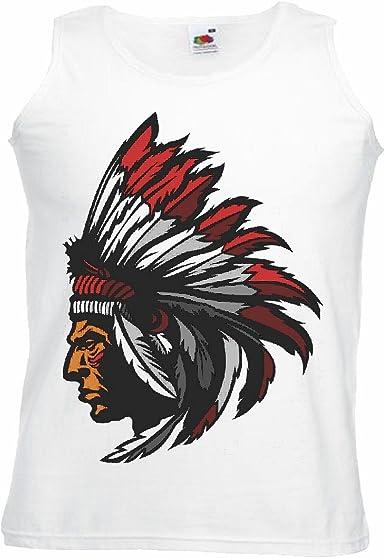 Camisa del músculo Tank Top India con LA Cabeza y manantiales Indios Red Chief Western Indios Manga en Blanco: Amazon.es: Ropa y accesorios