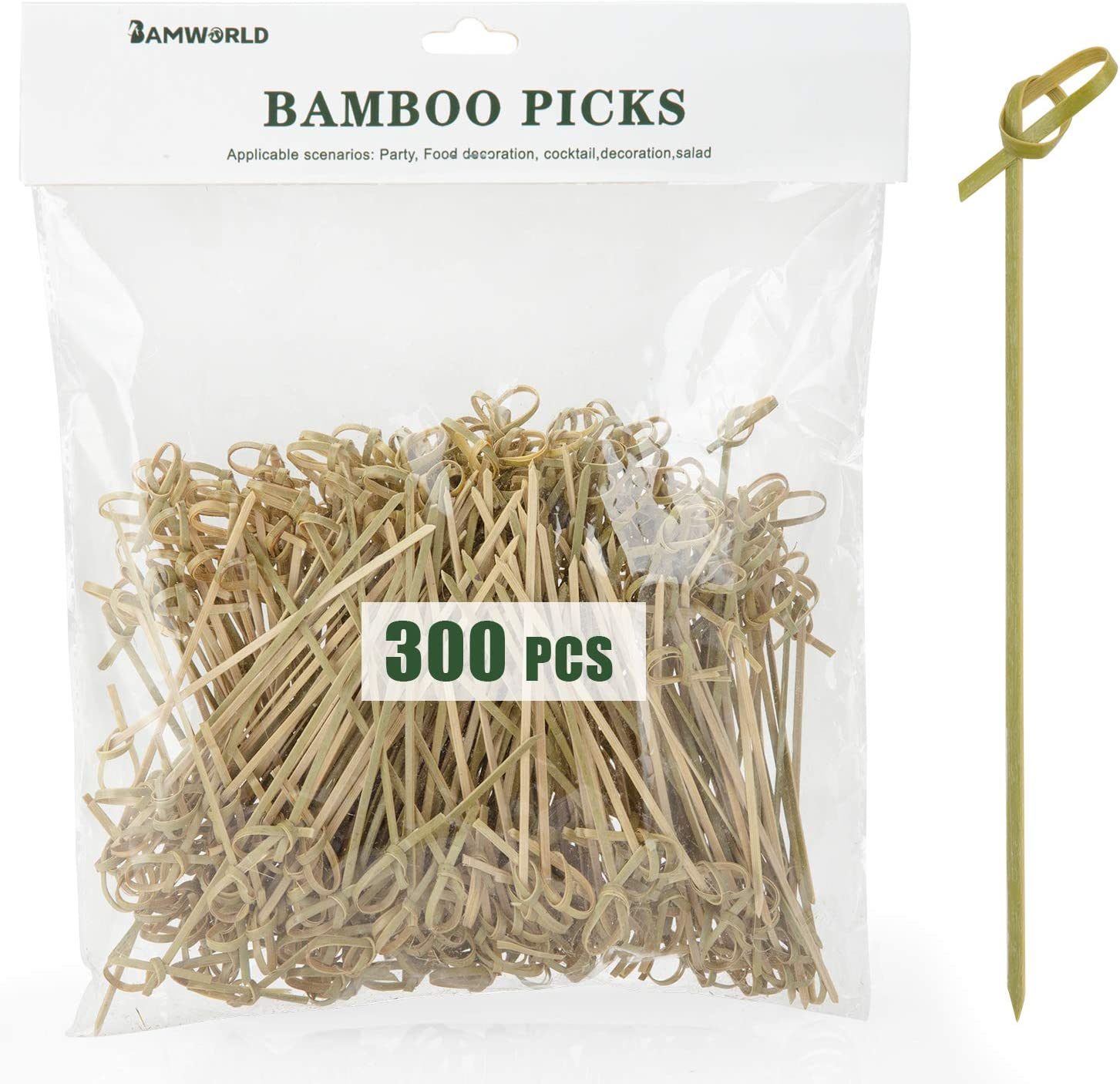 Cocktail Picks Bamboo Skewers Food Picks 4.7 Inch Toothpicks with Looped Knot Skewers for Party Fruit and Snacks (Knot, 300)