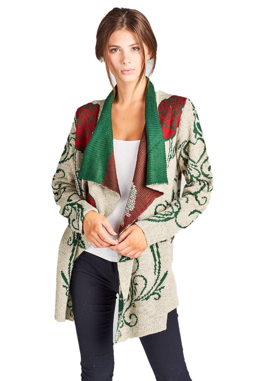 ReneeC. Women's Aztec Print Winter Open Front Warm Knit Cardigan Sweater (Large, Taupe)
