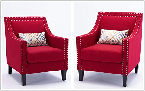 Set of 2 Red Accent Chair