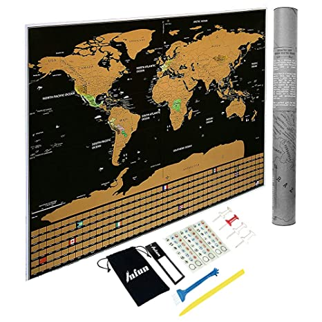 Amazon.com : Scratch Off Map of The World with States and Flags ...