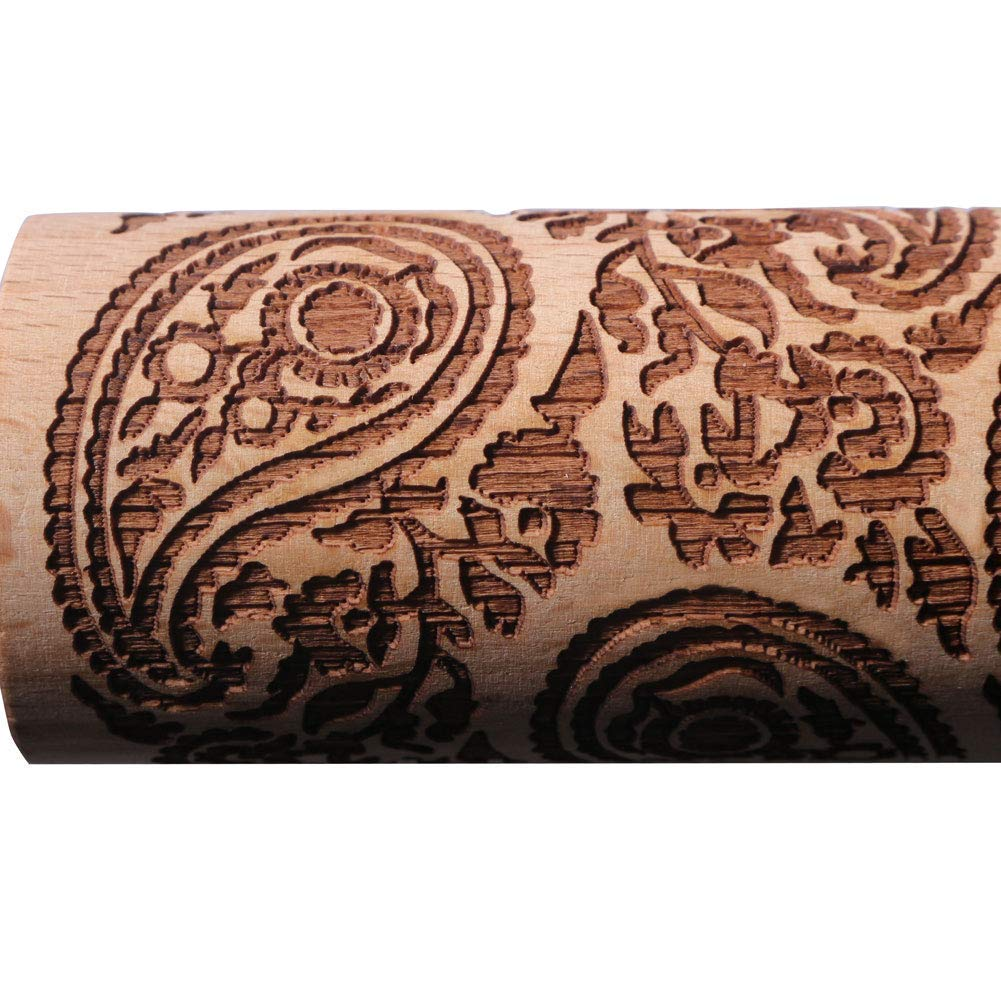 Paisley Wooden Rolling Pin Embossing Woody 3D Laser Engraved Rolling Pin for Baking Cookies Biscuit Fondant Cake Dough Clay by Xunlimen