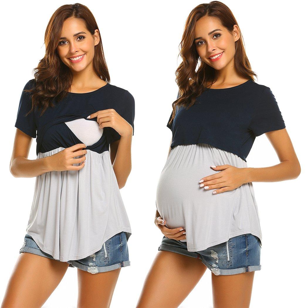 Ekouaer Women Pregnant Top Layered Maternity Nursing Breastfeeding Short Sleeve Blouse (Navy Blue XL)