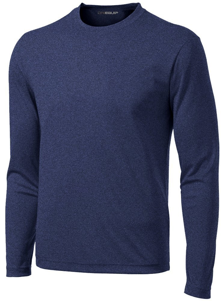 DRI-Equip Long Sleeve Moisture Wicking Athletic Shirt-X-Large-NavyHeather by Joe's USA