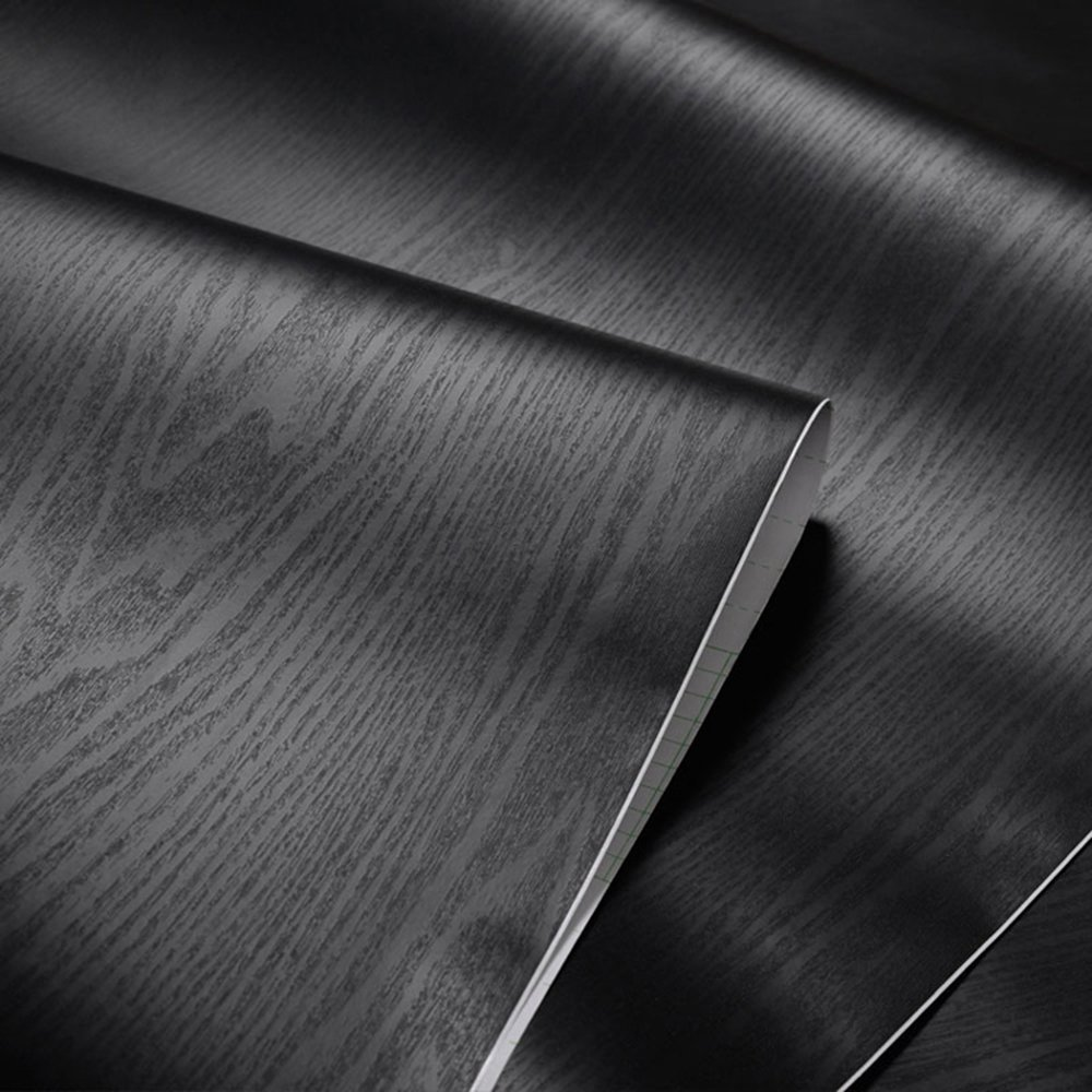 Textured Black Wood Grain Contact Paper Vinyl Self Adhesive Shelf Drawer Liner for Bathroom Kitchen Cabinets Shelves Table Arts Crafts Decal 24x117 Inches Glow4u GL001