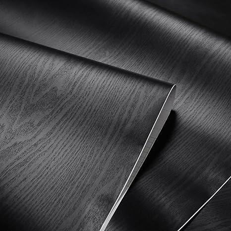 Negro con textura grano de madera papel de contacto - Vinilo autoadhesivo para maletero para cuarto