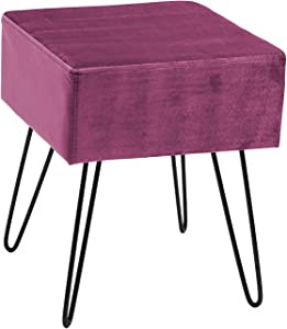 Sorbus Velvet Footrest Stool, Square Mid-Century Modern Luxe Velvet Ottoman, Footstool Side Table, Removable Metal Leg Design (Red Magenta)