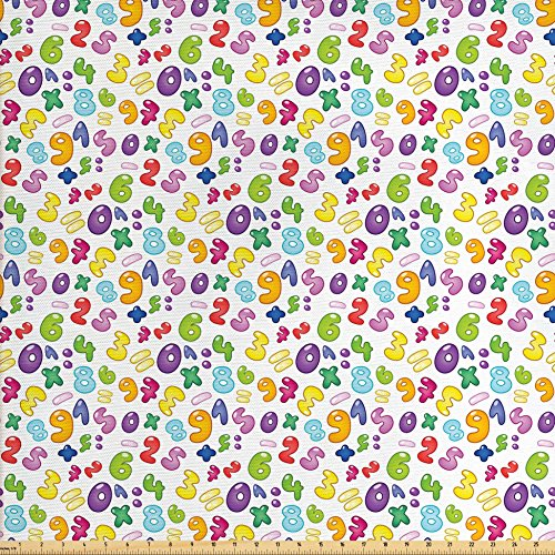 Ambesonne Numbers Fabric by The Yard, Bubble Style Numbers Equation Division Addition Multiplication Themed Children Math, Decorative Fabric for Upholstery and Home Accents, (Bubbles Valance)