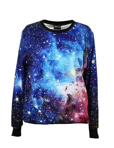 PrettyGuide Mujer Galaxy espacio estrellas impresión de manga larga Loose Lycra algodón blusa Jumper Pullover Tops
